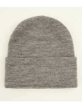 Grey Marl Turn Up Beanie Hat by New Look