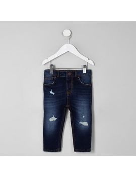 Mini Boys Dark Blue Sid Ripped Skinny Jeans by River Island