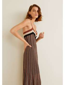 Металлизированное платье в полоску by Mango
