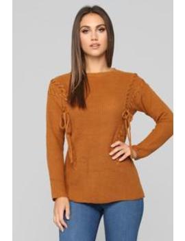 Ready Or Not Sweater   Cognac by Fashion Nova