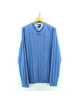 Vintage Tommy Hilfiger Men's Jumper Size L In Blue Crew Neck Cable Knit #Ef4092 by Ebay Seller