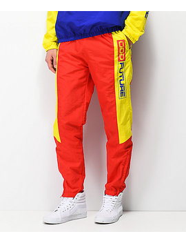 Odd Future Red &Amp; Yellow Windbreaker Pants by Odd Future