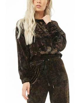 Crushed Velvet Camo Top by Forever 21
