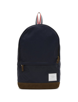 Navy Unstructured Nylon Backpack by Thom Browne