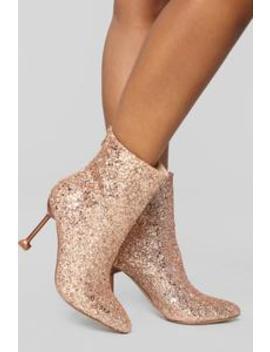Watch Me Shine Bootie   Rosegold by Fashion Nova