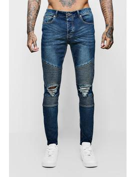 Antique Wash Biker Detail Skinny Fit Jeans by Boohoo