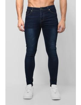 Spray On Skinny Jeans In Navy Wash by Boohoo
