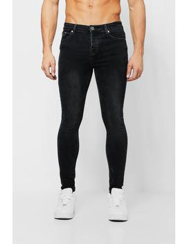 Spray On Skinny Jeans In Washed Black by Boohoo