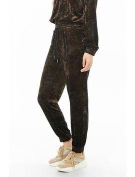 Crushed Velvet Camo Joggers by Forever 21