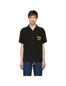 Black Palm Black Hawaiian Shirt by Double Rainbouu