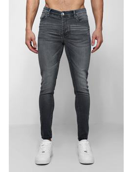 Spray On Skinny Jeans In Grey by Boohoo