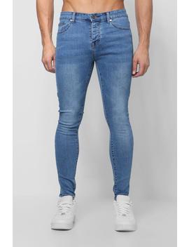 Spray On Skinny Jeans In Vintage Wash by Boohoo