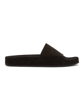 Black Suede Pool Slides by Cmmn Swdn