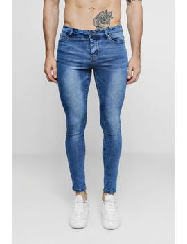 Super Skinny Mid Blue Denim Jeans by Boohoo
