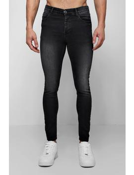 Spray On Skinny Jeans In Charcoal by Boohoo