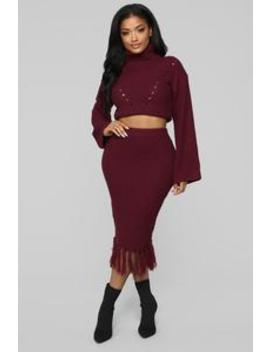 Warm Me Up Skirt Set   Burgundy by Fashion Nova