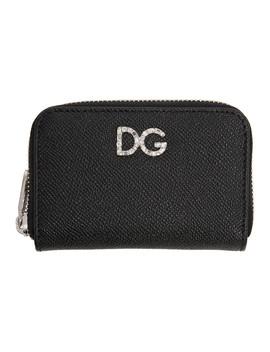 Black Crystal Logo Zip Card Holder by Dolce & Gabbana