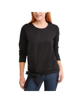 Women's Long Sleeve Side Tie Top by Time And Tru