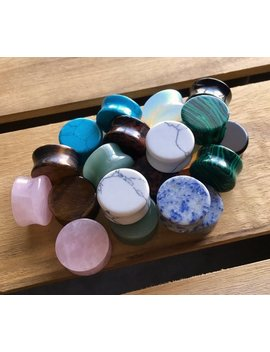"All 10 Pair Of Organic Double Flare Stone Plugs   Value Pack   Gauges 8g (3mm) Through 1"" (25mm) Available! by Etsy"