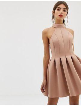Asos Design Seamed Halter Mini Prom Dress by Asos Design