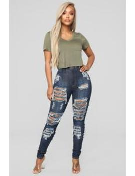 Get It Distressed Skinny Jeans   Dark Denim by Fashion Nova