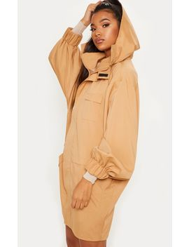 Camel Oversized Sports Mac  by Prettylittlething