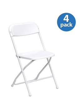 Hercules Series Premium Plastic Folding Chair, White, Set Of 4 by Flash Furniture