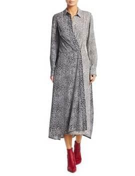 Karen Silk Asymmetric Leopard Print Shirtdress by Rag & Bone