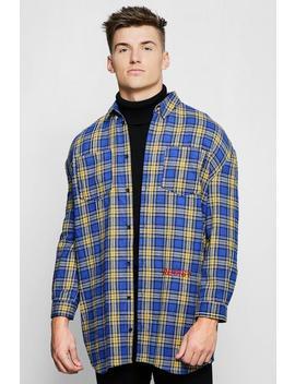 Blue Check Oversized Longline Shirt by Boohoo