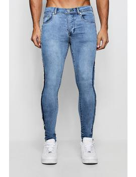 Super Skinny Jeans With Frayed Side Seam by Boohoo