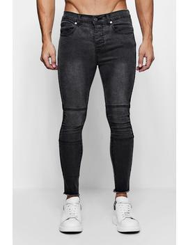 Super Skinny Biker Jeans With Raw Hem by Boohoo