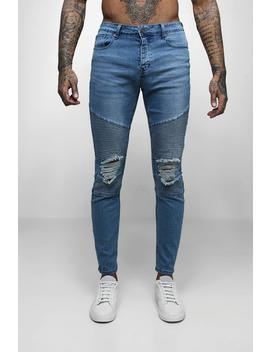 Mid Blue Biker Detail Skinny Fit Jeans by Boohoo