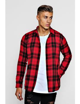 Long Sleeve Flannel Check Shirt by Boohoo