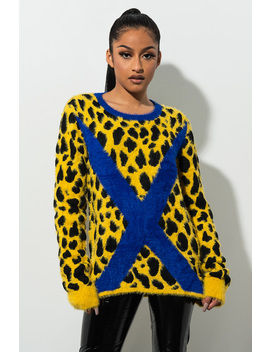 Party In The Front Fuzzy Leopard Print Sweater by Akira