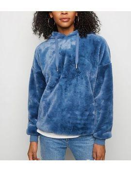 Pale Blue Faux Fur Hoodie by New Look