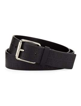 Men's Perforated Logo Leather Belt by Burberry