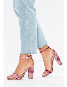 Pink Snake Print Block Heeled Sandals by Missguided