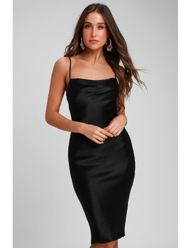 Brazen Babe Black Satin Cowl Neck Midi Slip Dress by Lulus