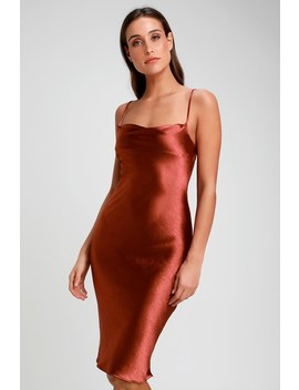 Brazen Babe Copper Satin Cowl Neck Midi Slip Dress by Lulus
