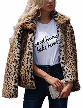 Zlslz Womens Ladies Cute Leopard Lapel Faux Fur Long Sleeve Event Waistcoat Jacket by Zlslz