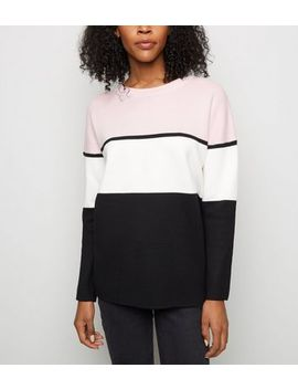 Pink Colour Block Longline Jumper by New Look