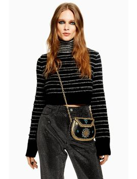 Tall Stripe Funnel Neck Cropped Jumper by Topshop