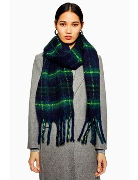 Heavy Black Watch Check Scarf by Topshop