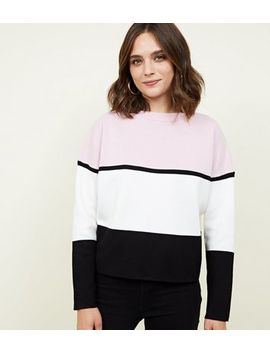 Pale Pink Colour Block Jumper by New Look