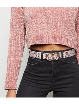 Pink Faux Snake Double Circle Belt by New Look