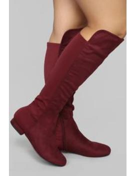 It's The Standard Flat Boot   Burgundy by Fashion Nova