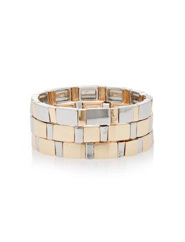 Set Of Three Gold Standard Mixed Metal Bracelets by Roxanne Assoulin