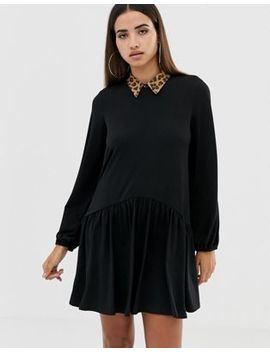 Asos Design Mini Smock Dress With Leopard Collar by Asos Design