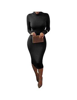 Laiyuan Women Turtleneck Long Sleeve Slim Bodycon Wrap Tunic Pencil Midi Dress by Laiyuan