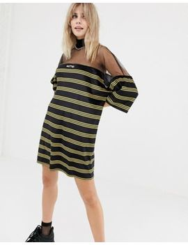 The Ragged Priest Velour Stripe T Shirt Dress With Mesh Panel by The Ragged Priest